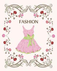 vintage label with pink dress