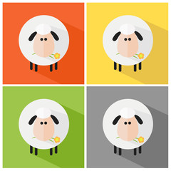 Sheep Modern Flat Design Icon. Collection Set