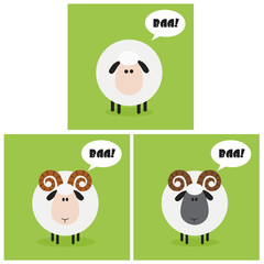 Sheep And Ram With Speech Bubble Modern Flat Design. Collection