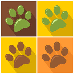 Paw Print Modern Flat Design Icon. Collection Set
