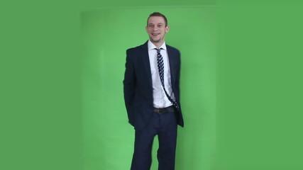 business man happy winner green screen