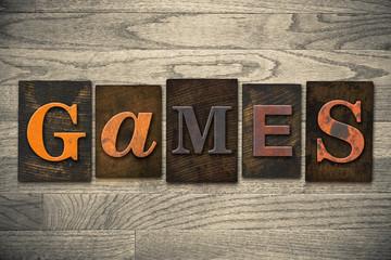 Games Concept Wooden Letterpress Type