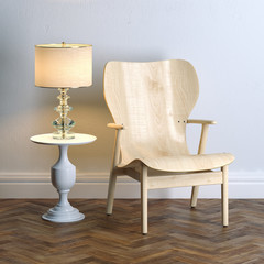 Contemporary style wooden chair with classic coffee table