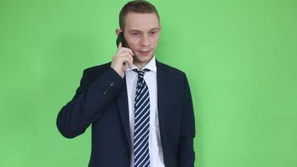 business man talking at phone close up