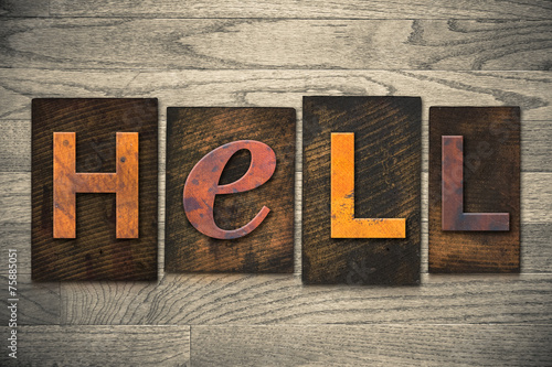 canvas print picture Hell Concept Wooden Letterpress Type