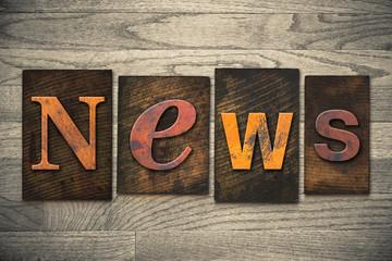 News Concept Wooden Letterpress Type