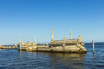 Stone breakwater barge at the Vizcaya Museum and Gardens on Bisc