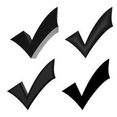 Black V check marks