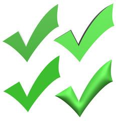 Green V check marks