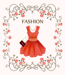 vintage label with red dress
