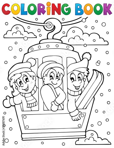 Coloring book cable car theme - 75887691