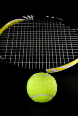 Green Tennis Ball with Racquet