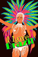 Brazilian carnival woman. Samba Dancer. Vector