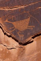 Petroglyphen-Indianische Steinritzzeichnung