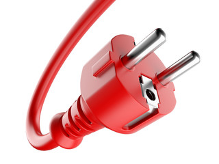 Red power plug and electric cable