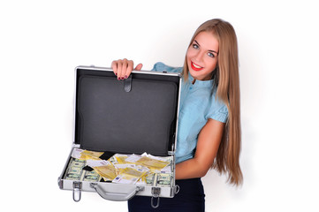 Girl with a suitcase full of money