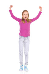 Cheering young girl