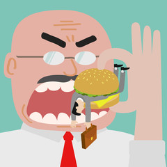 Boss eating businessman who get trapped by burger