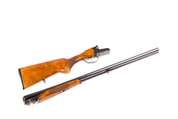 Disassembled hunting rifle