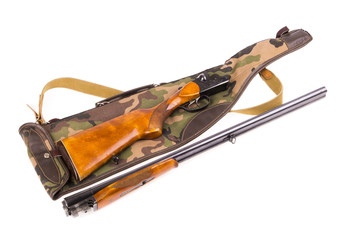 Disassembled hunting rifle and case
