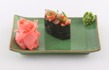 Sushi with vegetables, ginger and wasabi