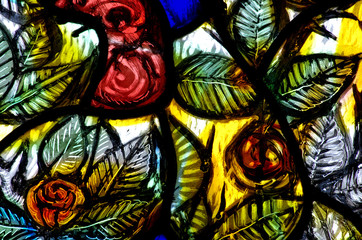 Flowers in stained glass