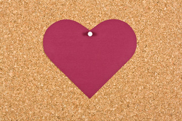 Heart on corkboard