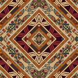 Seamless background from a floral ornament with rhombuses. Triba