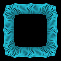 abstract geometric frame from broken blue colored lines