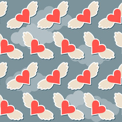 flying hearts with wings seamless pattern abstract background fo