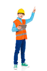Little construction worker pointing up