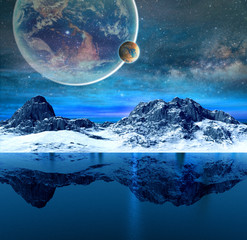 Mountains and beautiful transparent sea on alien planet