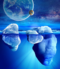 Underwater view of iceberg .