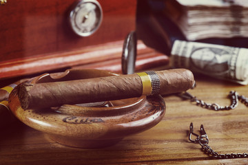 Relax with cuban cigar