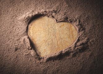 Heart shape on a cocoa background