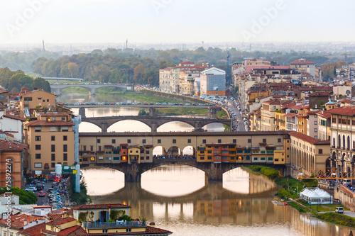 Staande foto Stockholm Arno River and bridges Ponte Vecchio