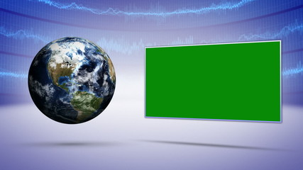 Earth Background with Green Screen Monitor