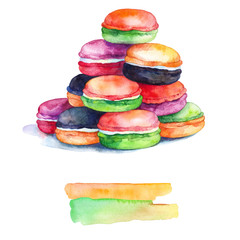 Colorful macaroons isolated.Watercolors Painting.