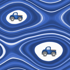 Abstract pattern with cartoon car - in blue
