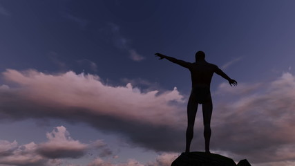 Silhouette of man on the rocks