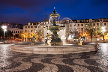 Rossio Square at Night in Lisbon