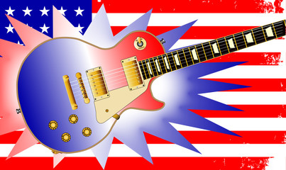 American Guitar and Flag