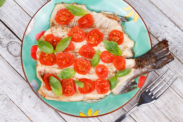 Trout, Tomatoes and Basil