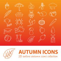 autumn outline icons