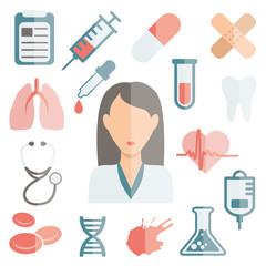 doctor flat icons