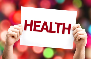 Health card with colorful background with defocused lights