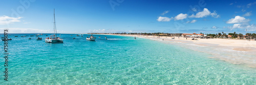 Fotobehang Overige Panoramic view of Santa Maria beach in Sal Cape Verde - Cabo Ver