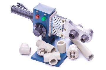 Tool for weldingplastic pipeisolatedon a white