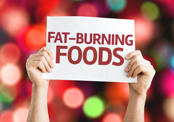 Fat Burning Foods card with colorful background