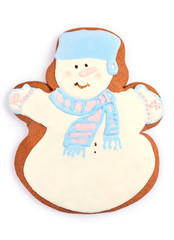 Holiday Snowman Gingerbread Man Cookie over White